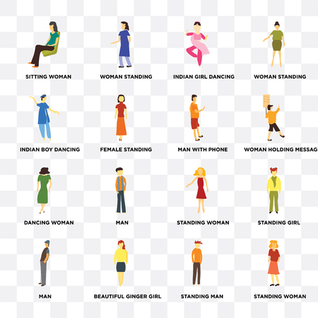 Set Of 16 transparent icons such as Standing woman, man, Sitting Man, girl, woman standing on transparent background, pixel perfect