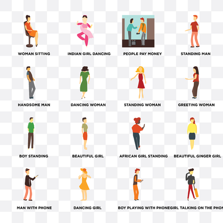 Set Of 16 transparent icons such as Girl talking on the phone, Dancing woman, girl, Man with Beautiful ginger Standing Man on transparent background, pixel perfect Illustration