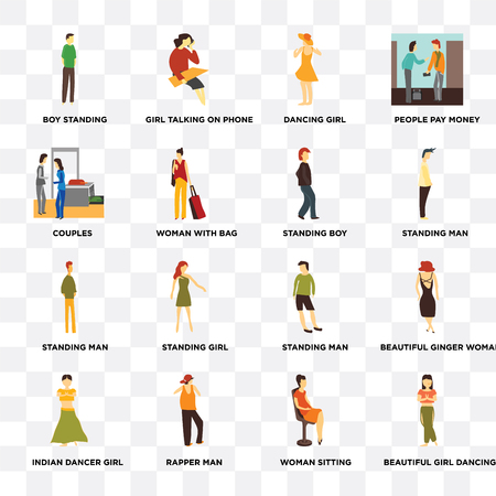 Set Of 16 transparent icons such as Beautiful girl dancing, Woman with bag, rapper man, Indian dancer girl, ginger woman, People pay money on transparent background, pixel perfect