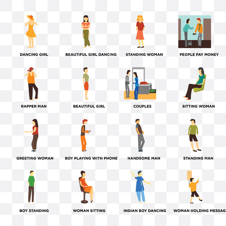Set Of 16 transparent icons such as Woman holding message, indian boy dancing, Dancing girl, Boy standing, Standing man, Handsome woman on transparent background, pixel perfect