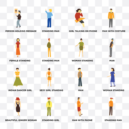 Set Of 16 transparent icons such as Standing man, girl, Beautiful ginger woman, woman standing, Man with costume on transparent background, pixel perfect Illustration