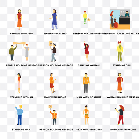 Set Of 16 transparent icons such as Woman with phone, Sexy girl standing, Person holding message, Standing Man, People web UI icon pack, pixel perfect