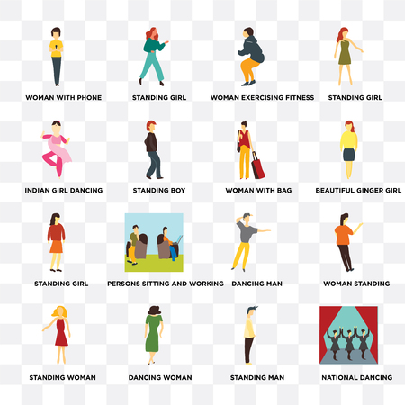 Set Of 16 transparent icons such as National dancing, Standing boy, Dancing woman, Woman standing, girl on transparent background, pixel perfect