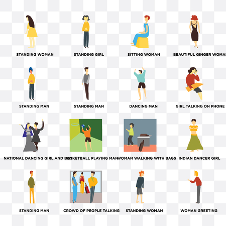 Set Of 16 transparent icons such as Woman greeting, Standing man, Crowd of people talking, Indian dancer girl, Beautiful ginger woman on transparent background, pixel perfect