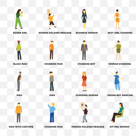 Set Of 16 icons such as Sitting woman, Person holding message, Standing Man, Man with costume, indian boy dancing, Boxer girl, Black man, boy on transparent background, pixel perfect