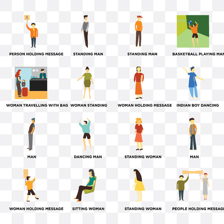 Set Of 16 transparent icons such as People holding message, Woman standing, Sitting woman, Man, Basketball playing man on transparent background, pixel perfect Illustration