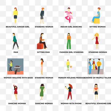 Set Of 16 transparent icons such as Beautiful standing girl, Sitting man, Dancing woman, Crowd of people talking on transparent background, pixel perfect