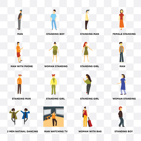 Set Of 16 icons such as Standing boy, Woman with bag, Man watching TV, 2 men natinal dancing, woman standing, Man, phone, man, girl on transparent background, pixel perfect Illustration