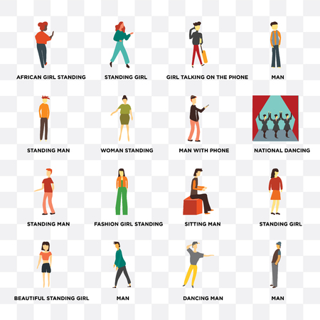 Set Of 16 icons such as Man, dancing man, Beautiful standing girl, Standing African girl standing, Man with phone on transparent background, pixel perfect
