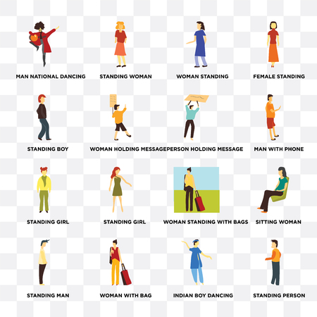 Set Of 16 transparent icons such as Standing person, Woman holding message, with bag, Man, Sitting woman, Female standing on transparent background, pixel perfect