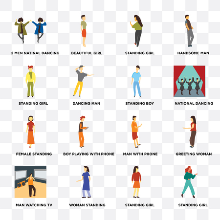 Set Of 16 transparent icons such as Standing girl, 2 men natinal dancing, Man watching TV, greeting woman, with phone on transparent background, pixel perfect Illustration