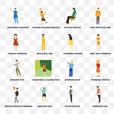 Set Of 16 transparent icons such as greeting man, Standing indian boy dancing, Person holding message, woman, Man, Sitting web UI icon pack, pixel perfect