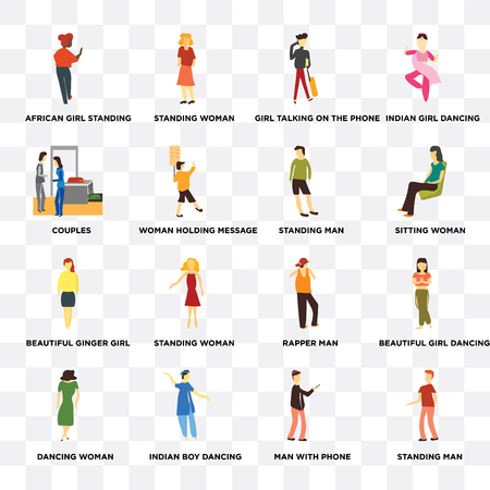 Set Of 16 transparent icons such as Standing Man, Woman holding message, indian boy dancing, Dancing woman, Beautiful girl web UI icon pack, pixel perfect