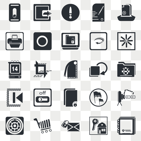 Set Of 25 transparent icons such as Upload File, Key, Hue Circle, Online Store Cart, Navigation Helm, Video Camera Front View, Crop Tool, web UI transparency icon pack, pixel perfect