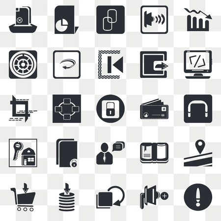Set Of 25 transparent icons such as Bar Stats, Speaker Mute, Computing code, Download Data, Take Out from the Cart, Road Map and Pin, Network Connection, web UI transparency icon pack, pixel perfect