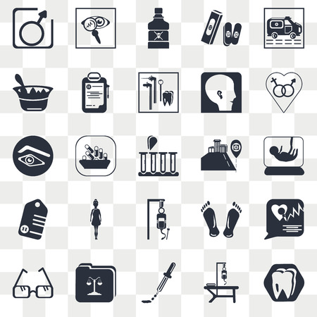 Set Of 25 transparent icons such as Medical samples in test tubes couple, Hospital bed, Dosage medical tool, results folders, placeholder, web UI transparency icon pack, pixel perfect Иллюстрация