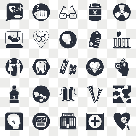 Set Of 25 transparent icons such as Bandage cross, Hospital medical, building front, Heart rate monitor, beats lifeline in a heart, web UI transparency icon pack, pixel perfect