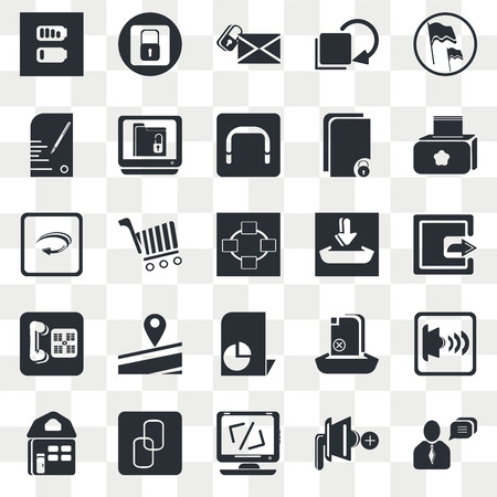 Set Of 25 transparent icons such as Flag Waving, Speaker Mute, Paper Mill, Big Chain, Website Home Page, Speakers Volume, Online Store Cart, web UI transparency icon pack, pixel perfect Vettoriali