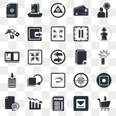 Set Of 25 transparent icons such as Stop, Big Download Arrow, Headphones, Bar Stats, Various Files, Stop Square Button, Move Arrows, web UI transparency icon pack, pixel perfect 일러스트