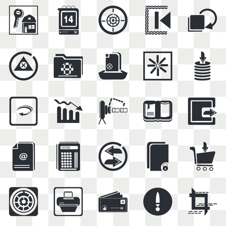 Set Of 25 transparent icons such as Export Button, Postcard with Stamp, Print Document, Right Curve Arrow, Video Camera Front View, web UI transparency icon pack, pixel perfect Иллюстрация