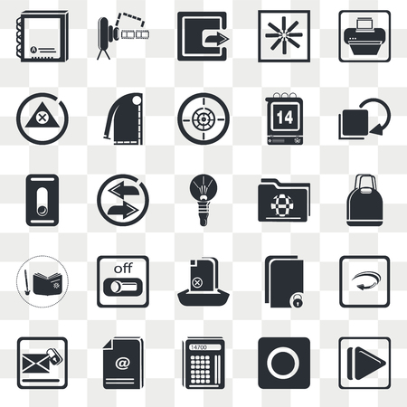 Set Of 25 transparent icons such as Supermarket Bag, Maths Tool, Download Archive, On Slider, Round Light Bulb, web UI transparency icon pack, pixel perfect