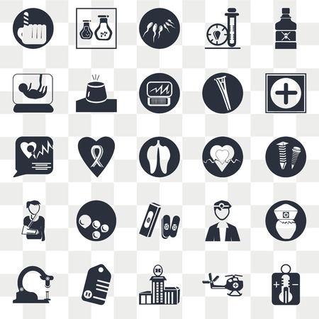 Set Of 25 transparent icons such as Poison bottle with a skull, Medical chopper transport, Hospital medical, Tag cross, Microscope tool, Nurse, , web UI transparency icon pack, pixel perfect