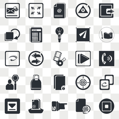 Set Of 25 transparent icons such as Export Button, Various Files, Reading An Open Book, Upload File, Big Download Arrow, Multiple Replay Arrows, web UI transparency icon pack, pixel perfect
