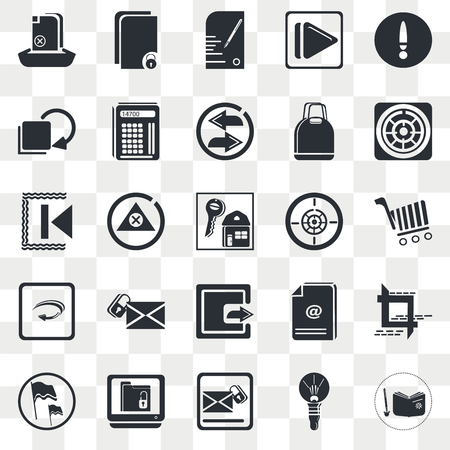 Set Of 25 transparent icons such as Delete Round Button, Light Bulb, Navigation Helm, Lock Folder, Flag Waving, Crop Tool, Alert, web UI transparency icon pack, pixel perfect