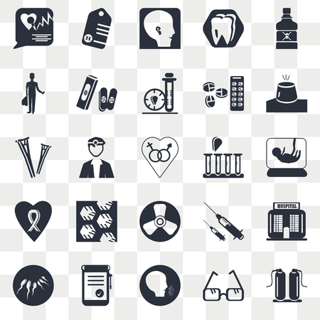 Set Of 25 transparent icons such as Oxygen, Pregnancy, Emergency light, Tag with a cross, Sperm, Bandage Syringe medicine, Crutches couple, web UI transparency icon pack, pixel perfect