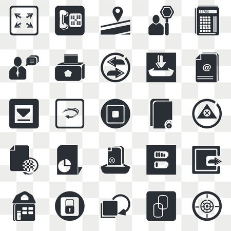 Set Of 25 transparent icons such as Maths Tool, Big Chain, Download Archive, Blocked Padlock, Website Home Page, Export Button, Right Curve Arrow, web UI transparency icon pack, pixel perfect 일러스트