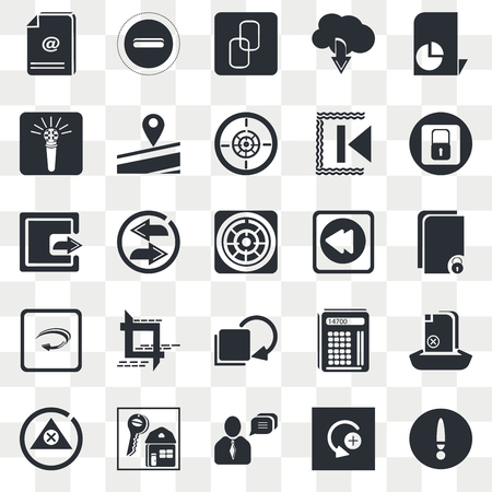 Set Of 25 transparent icons such as Statistics File, Curve Right Arrow, Blocked Padlock, Key, Alert, Upload Replay Arrows, web UI transparency icon pack, pixel perfect