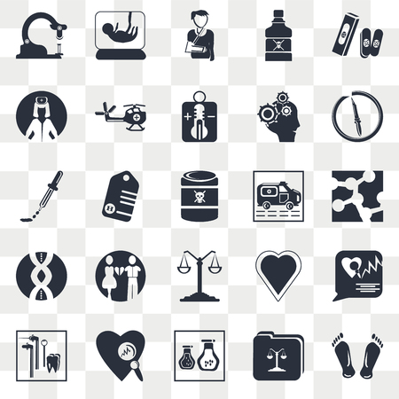 Set Of 25 transparent icons such as Biology shape, Chemistry flask with liquid, Medical heart scan, Dosage medical tool, Toxic, web UI transparency icon pack, pixel perfect Иллюстрация