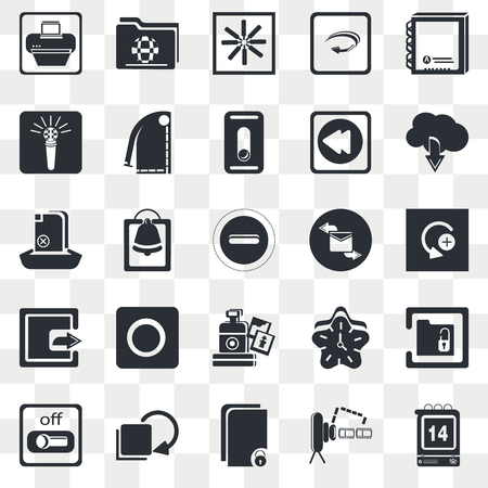 Set Of 25 transparent icons such as Contact Book, Video Camera Front View, Up Arrow and Cloud, Curve Left Arrow, Switch Off, Unlock Folder, Alarming Bell, web UI transparency icon pack, pixel perfect Иллюстрация