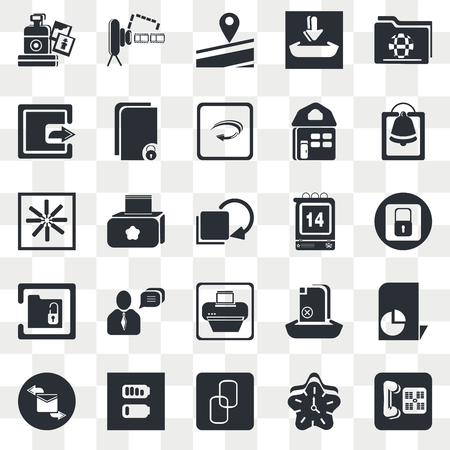 Set Of 25 transparent icons such as Two Folders, Clock, Alarming Bell, Battery with Bars, Envelope Message, Statistics File, Paper Mill, web UI transparency icon pack, pixel perfect