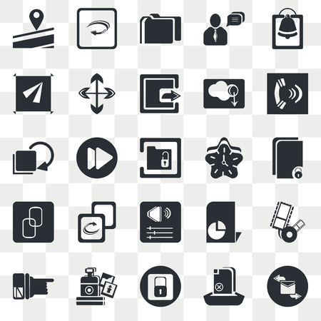 Set Of 25 transparent icons such as Alarming Bell, Upload File, Telephone Receiver, Vintage Digital Camera, Hand Pointer, Video Forward Button, web UI transparency icon pack, pixel perfect