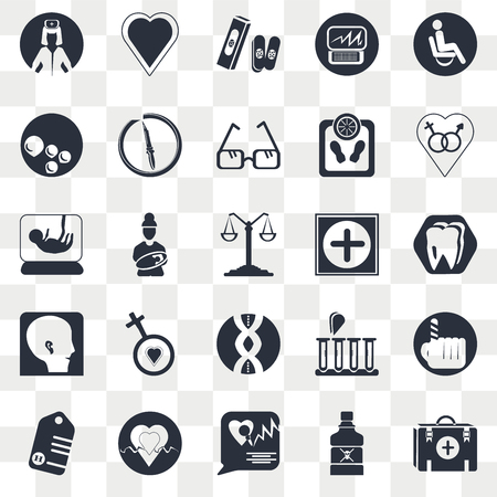 Set Of 25 transparent icons such as Teeth, Medical talk, Heart beats lifeline in a heart, Pregnancy, Scale balanced tool, web UI transparency icon pack, pixel perfect Çizim