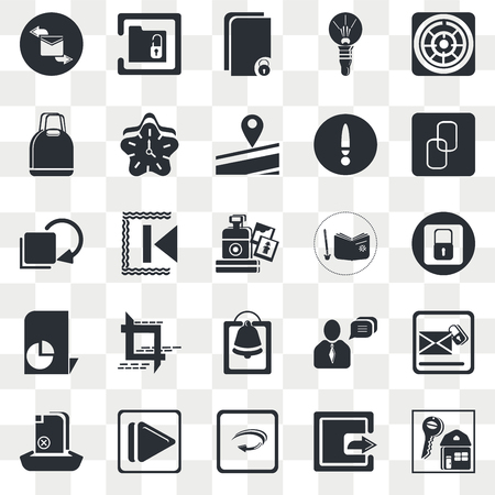 Set Of 25 transparent icons such as Key, Blocked Padlock, Big Chain, Unlock Folder, Upload File, Clock, Chat Message, Curve Left Arrow, web UI transparency icon pack, pixel perfect