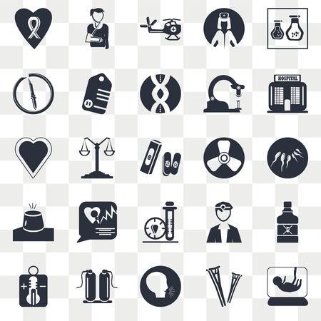 Set Of 25 transparent icons such as Sperm, Unhealthy medical condition, Oxygen, Heart black shape, Bandage cross, web UI transparency icon pack, pixel perfect Иллюстрация