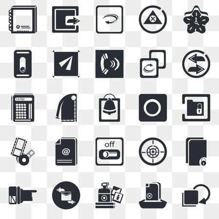 Set Of 25 transparent icons such as Clock, Upload File, Replay Arrows, Envelope with Message, Hand Pointer, Unlocked Price Ticket, web UI transparency icon pack, pixel perfect
