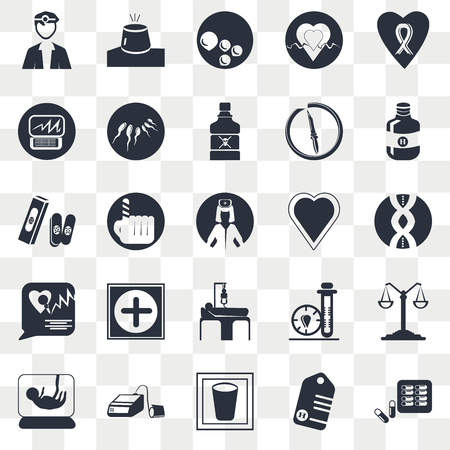 Set Of 25 transparent icons such as Medical chain, Water glass, Blood pressure control tool, Bandage cross, Nurse, web UI transparency icon pack, pixel perfect