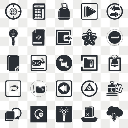Set Of 25 transparent icons such as Alarming Bell, Big Microphone, Curve Right Arrow, Unlocked File, Envelope with Message, web UI transparency icon pack, pixel perfect Vettoriali