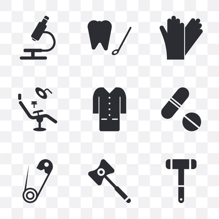 Set Of 9 simple transparency icons such as Neurology reflex hammer, X ray, Safety pin, Pills, Lab coat, Dentist chair, Glove, Dental hook, Microscope, can be used for mobile, pixel perfect vector