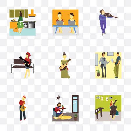 Set Of 9 simple transparency icons such as Girl playing cellos, Woman working in the office, Person saxophone, Two Businessmen talk, saz, guitar,