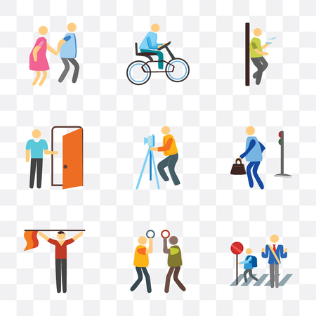 Set Of 9 simple transparency icons such as Stop, Silence, Finish, Pedestrian, Photography, Exit, Smoking, Bicycle, Walking, can be used for mobile, pixel perfect vector icon pack on transparent