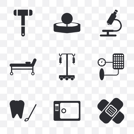 Set Of 9 simple transparency icons such as bandage, Sterilization, Dental hook, Blood pressure, Hanger, Stretcher, Microscope, Head mirror, Neurology reflex hammer, can be used for mobile, pixel Ilustração