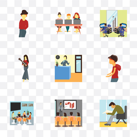 Set Of 9 simple transparency icons such as Man reading papers, People explaining work, Family having lunch together, Young boy walking, Reception of the office, Standing girl playing guitar, Team