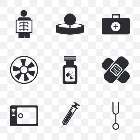 Ensemble de 9 icônes de transparence simples telles que diapason, aiguille, stérilisation, pansement, flacon, turbine, mallette de médecin, miroir de tête, rayons X, peut être utilisé pour mobile, pixel pack d'icônes vecteur parfait sur