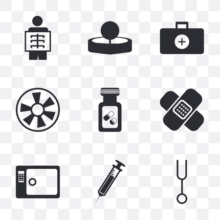 Set Of 9 simple transparency icons such as Tuning fork, Needle, Sterilization, Band aid, Vial, Turbine, Doctor briefcase, Head mirror, X ray, can be used for mobile, pixel perfect vector icon pack on