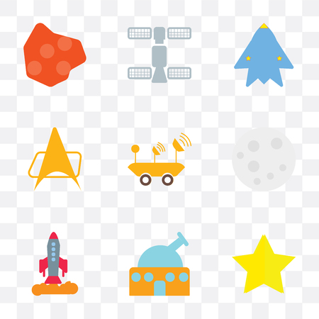 Set Of 9 simple transparency icons such as Star, Observatory, Space ship, Moon, Moon rover, Voyager, station, Asteroid, can be used for mobile, pixel perfect vector icon pack on