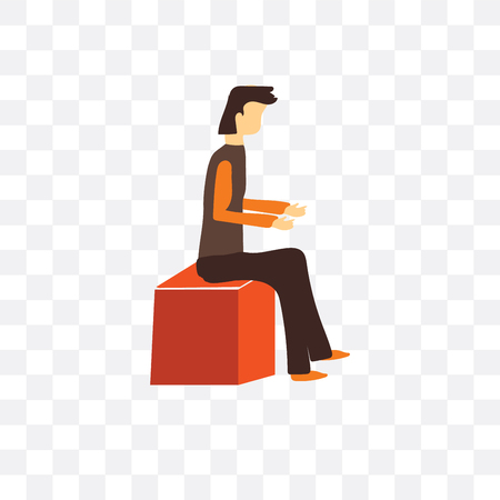 Icono de vector de hombre sentado aislado sobre fondo transparente, concepto de logo de hombre sentado